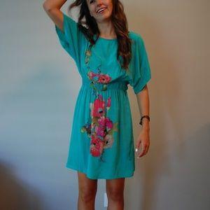 Beautiful turquoise blue silk dress